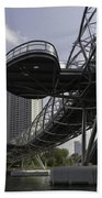 Oil Painting - The Bayfront Bridge And Helix Bridge In Singapore Beach Towel