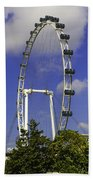 Oil Painting - The Wheel Of Singapore Flyer Beach Towel