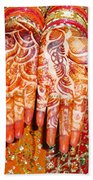 Oil Painting - Wonderfully Decorated Hands Of A Bride Beach Towel