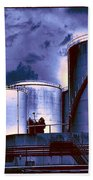 Oil Storage Tanks 2 Beach Towel