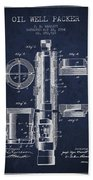 Oil Well Packer Patent From 1904 - Navy Blue Beach Towel