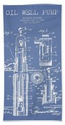 Oil Well Pump Patent From 1912 - Light Blue Beach Towel