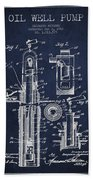 Oil Well Pump Patent From 1912 - Navy Blue Beach Towel
