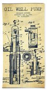 Oil Well Pump Patent From 1912 - Vintage Beach Towel