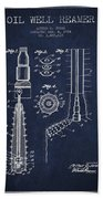 Oil Well Reamer Patent From 1924 - Navy Blue Beach Towel