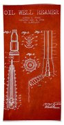 Oil Well Reamer Patent From 1924 - Red Beach Towel