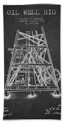 Oil Well Rig Patent From 1893 - Dark Beach Towel