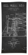 Oil Well Rig Patent From 1917- Dark Beach Towel