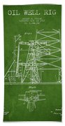 Oil Well Rig Patent From 1917- Green Beach Towel