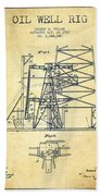 Oil Well Rig Patent From 1917- Vintage Beach Towel