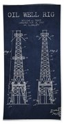 Oil Well Rig Patent From 1927 - Navy Blue Beach Towel