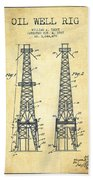 Oil Well Rig Patent From 1927 - Vintage Beach Towel