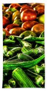 Okra And Tomatoes Beach Towel