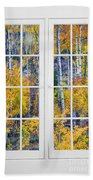 Old 16 Pane White Window Colorful Fall Aspen View  Beach Towel