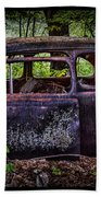 Old Abandoned Car In The Woods Beach Towel