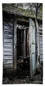 Old Abandoned Well House With Door Ajar Beach Towel by Edward Fielding