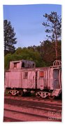 Old And Weathered Caboose Beach Towel