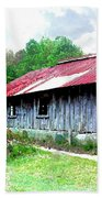 Old Barn Along Golden Road Filtered Beach Towel