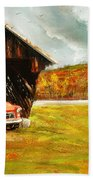 Old Barn And Red Truck Beach Towel