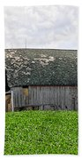 Old Barn And Round Bales Beach Towel