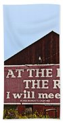 Old Barn With Religious Sign Beach Towel