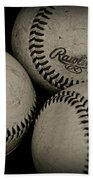 Old Baseballs Beach Towel
