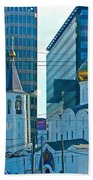 Old Believer-new Believer Church Amid Skyscrapers In Moscow-russia Beach Towel