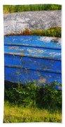 Old Blue Boat Beach Towel
