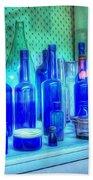 Old Blue Bottles Beach Towel