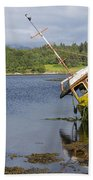 Old Boat In The Loch  Beach Towel