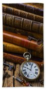 Old Books And Pocketwatch Beach Towel