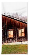 Old Brown Barn Along Golden Road Beach Towel