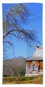 Old Cabin And Tree Beach Towel