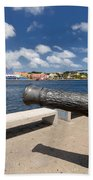 Old Cannon And Queen Juliana Bridge Curacao Beach Towel