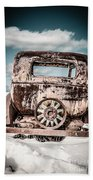 Old Car In The Snow Beach Towel