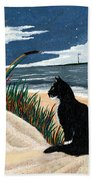 Old Cat And The Sea Beach Towel