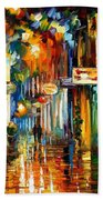 Old City Street - Palette Knife Oil Painting On Canvas By Leonid Afremov Beach Towel