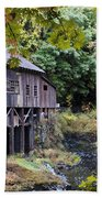 Old Creek Grist Mill In Autumn Beach Towel