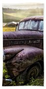 Old Dairy Farm Truck Beach Towel