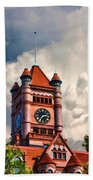Old Dupage County Courthouse Clouds Beach Towel