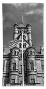 Old Dupage County Courthouse Flag Black And White Beach Towel