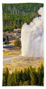 Old Faithful From Observation Point Beach Towel