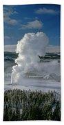 3m09133-01-old Faithful Geyser In Winter - V Beach Towel
