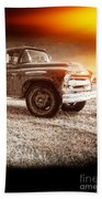 Old Farm Truck With Explosion At Night Beach Towel