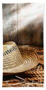 Old Farmer Hat And Rope Beach Towel by Olivier Le Queinec