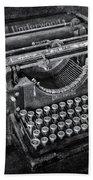 Old Fashioned Underwood Typewriter Bw Beach Towel