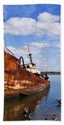 Old Fishing Ship Wreck Beach Towel