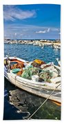 Old Fishing Wooden Boat With Nets Beach Towel