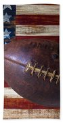 Old Football On American Flag Beach Towel by Garry Gay