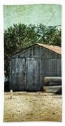 Old Garage And Car In Seligman Beach Towel